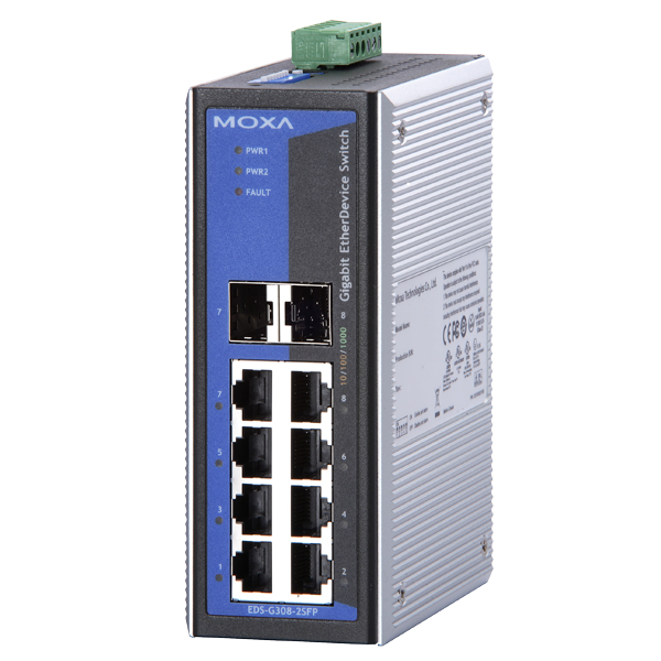 MOXA  EDS-G308-2SFP  Коммутатор  Gigabit Ethernet switch with 6 ports and 2 slot combo ports, 0 to 60°C